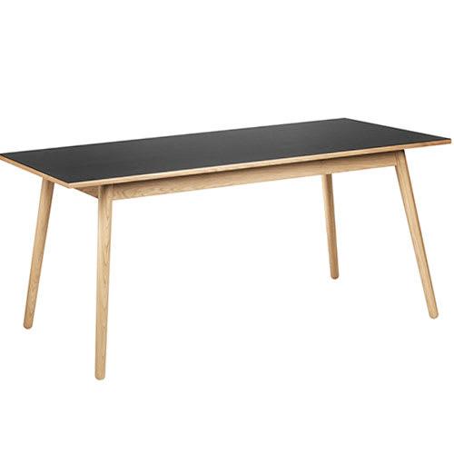 Poul M. Volther 6 pers. spisebord - C35B - Eg/sort linoleum