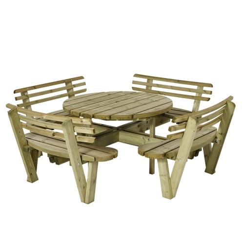 Rundt bord- og bænkesæt med ryglæn