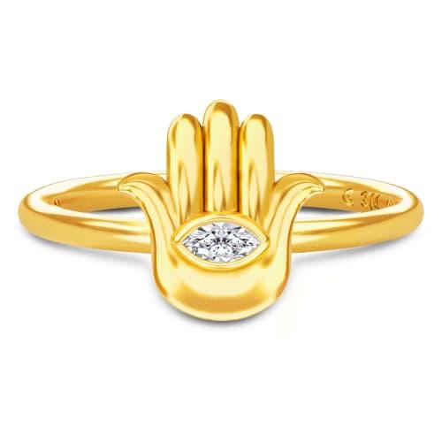Image of   Spinning Jewelry ring - Aura Hamsa - Forgyldt sterlingsølv