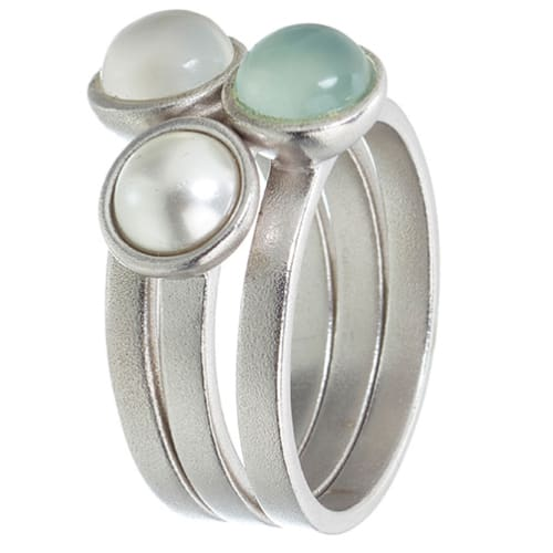 Image of   Spinning Jewelry ring - Deep Sea Pearl - Rhodineret sterlingsølv
