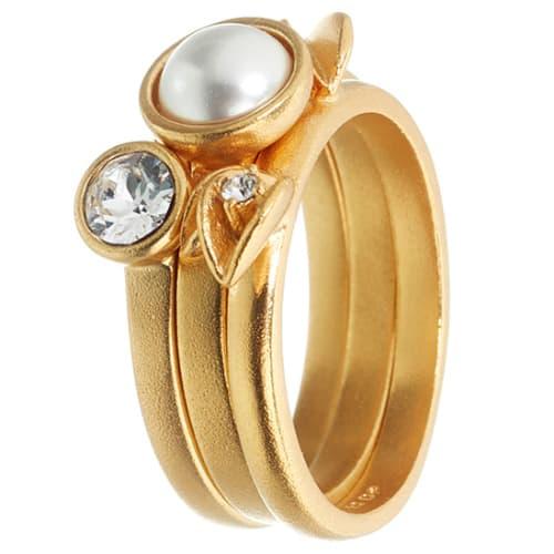 Image of   Spinning Jewelry ring - Leaf Symphony - Forgyldt sterlingsølv