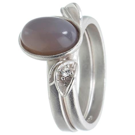 Image of   Spinning Jewelry ring - Moon Leaf - Rhodineret sterlingsølv