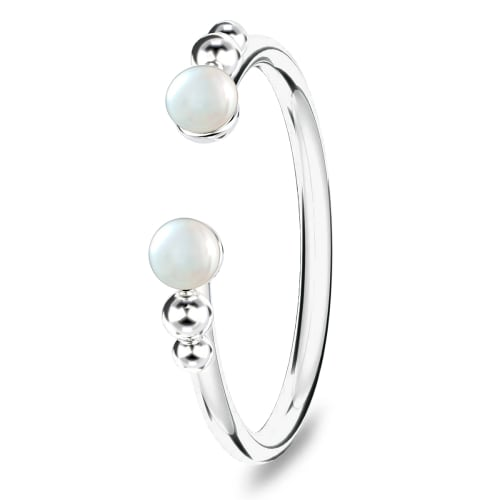 Image of   Spinning Jewelry ring - Open pearl - Rhodineret sterlingsølv