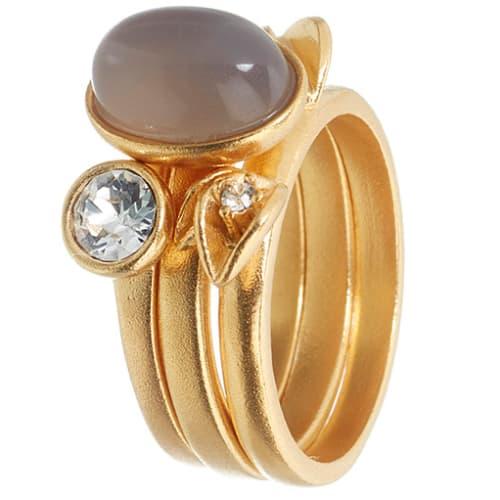 Image of   Spinning Jewelry ring - Sparkling Leaf - Forgyldt sterlingsølv
