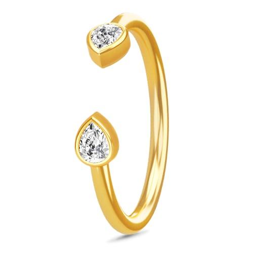 Image of   Spinning Jewelry ring - Teardrop - Forgyldt sterlingsølv
