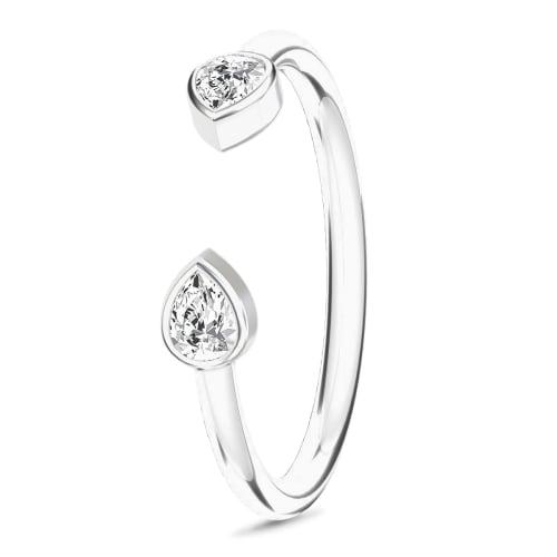 Image of   Spinning Jewelry ring - Teardrop - Rhodineret sterlingsølv