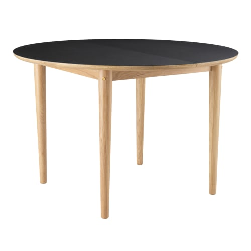 Unit10 spisebord med udtræk - C62E Bjørk - Eg/sort linoleum