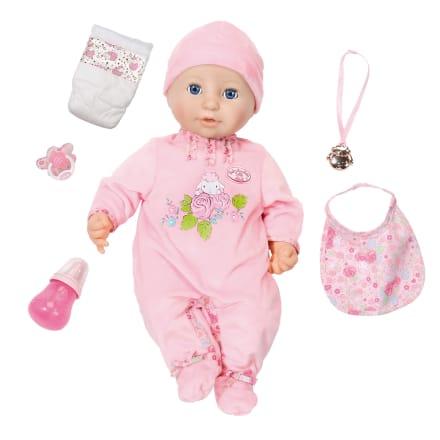 H 42 cm - Babydukke med sut, sutteflaske og dukketøj