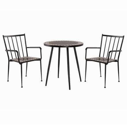 Rundt bord og 2 stabelbare stole i metal