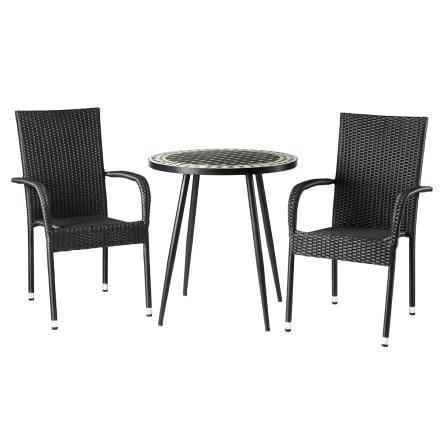 Metalbord med mosaik og 2 stabelbare stole i polyrattan