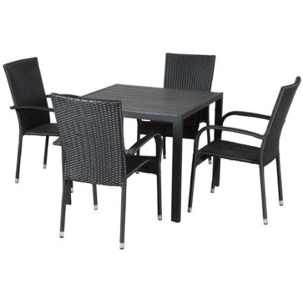 Bord i nonwood og 4 stabelbare stole i polyrattan