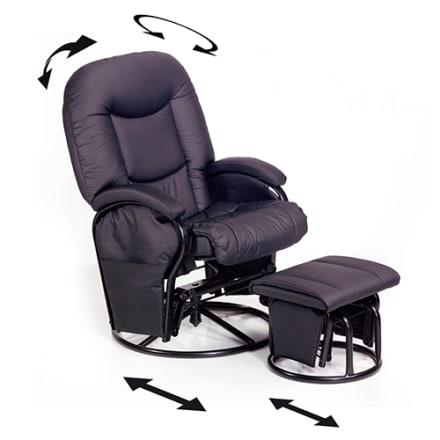 Komfortabel lænestol med justerbart ryglæn og 360 graders rotation