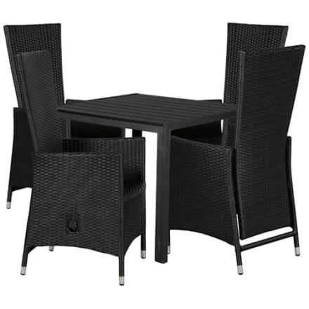 Bord i nonwood og 4 positionsstole i polyrattan