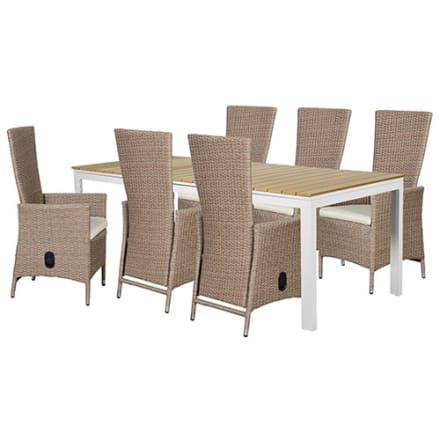 Udtræksbord i nonwood og 6 positionsstole i polyrattan