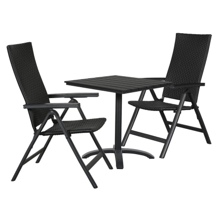 Bord i nonwood og 2 positionsstole i polyrattan