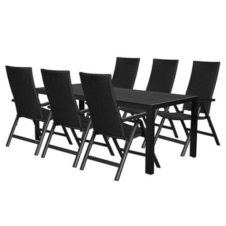 Bord i nonwood og 6 positionsstole i aluminium og polyrattan