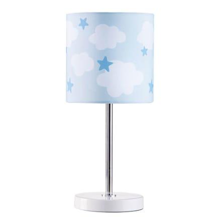 Lys børneværelset op med blå stjerner og hvide skyer - H 33 x Ø 15 cm