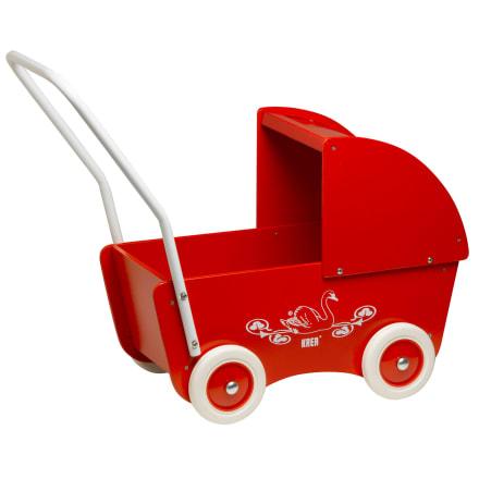 Den klassiske dukkevogn i træ - perfekt til bamser og dukker