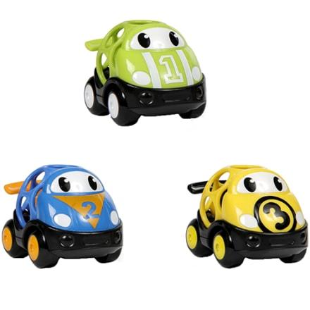 Tre seje Oball racerbiler i grøn, blå og gul