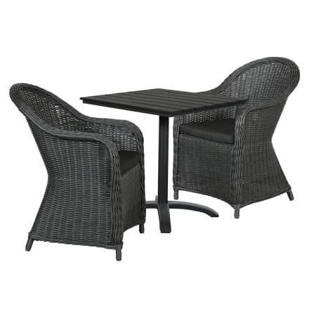 Bord i nonwood og 2 stole i polyrattan