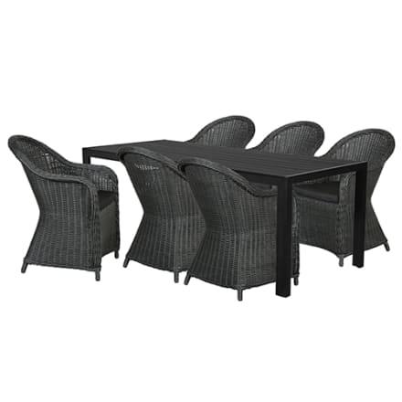 Bord i nonwood og 6 stole i polyrattan