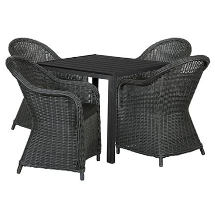 Bord i nonwood og 4 stole i polyrattan