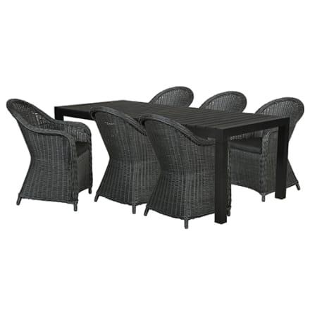 Udtræksbord i nonwood og 6 stole i polyrattan
