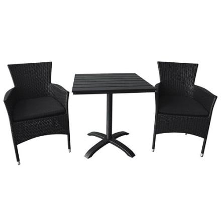 Bord i nonwood og 2 stabelbare stole i polyrattan