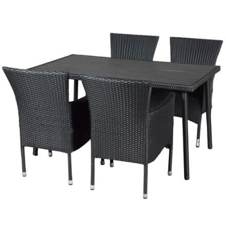 Bord i nonwood/polyrattan og 4 stabelbare stole i polyrattan