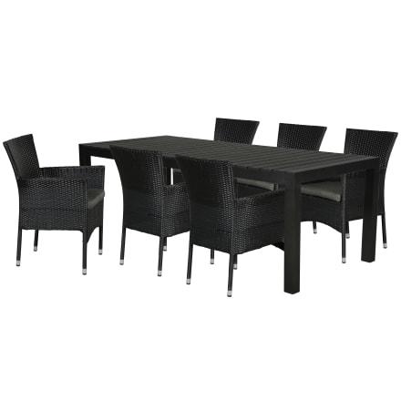 Udtræksbord i nonwood og 6 stabelbare stole i polyrattan