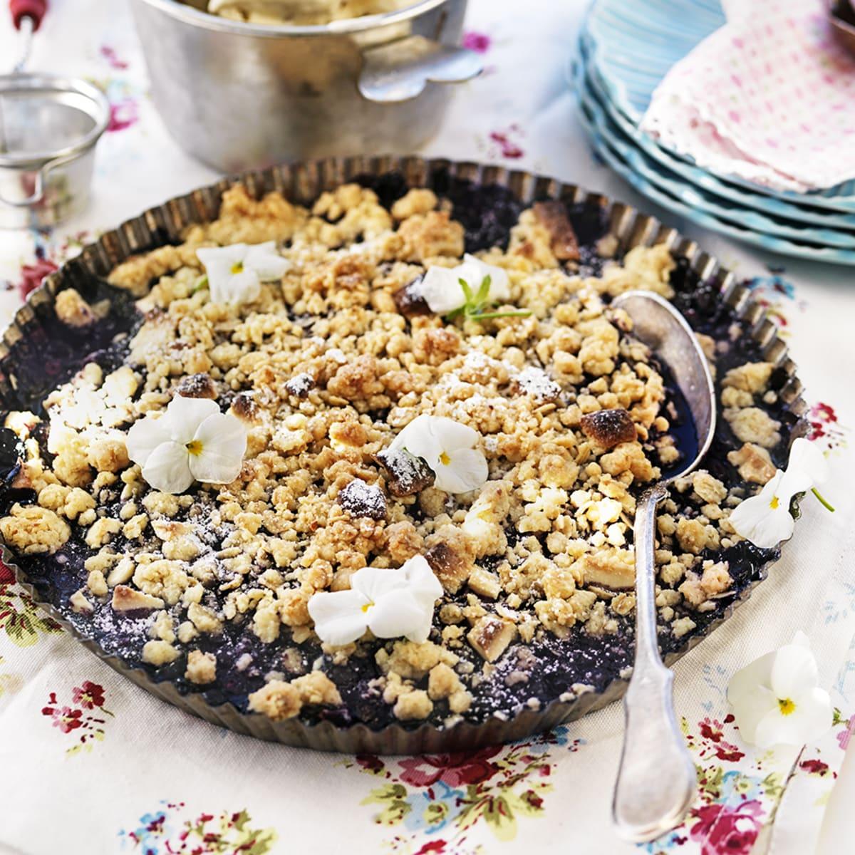 blåbärspaj med vit choklad och citron