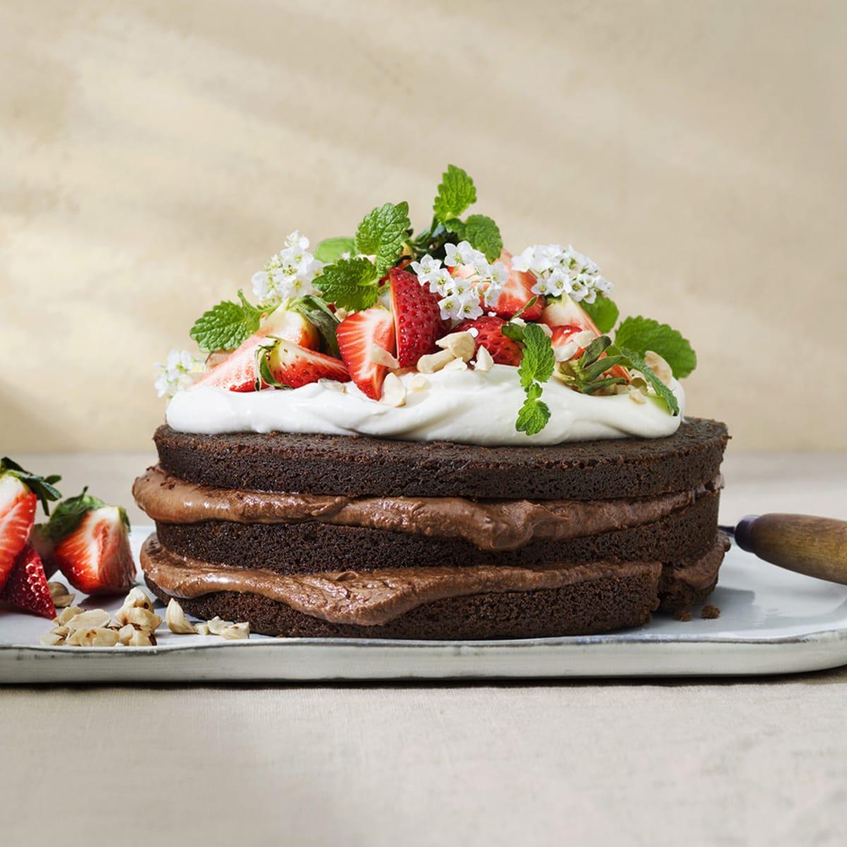 choklad och jordgubbstårta recept