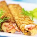 Crêpes med mussel- och skaldjursfyllning