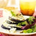 Fårost- och crème fraiche-gratinerade auberginer