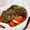 Pannbiff med ugnsbakade tomater