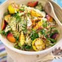 Couscous med grillad nektarin och halloumi