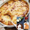 Lasagne med kallrökt lax, grillad paprika och fetaost
