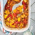 Ugnsbakade paprikor med tomater och bönor