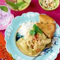 Kyckling korma med kryddigt ris