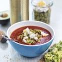 Tomatsoppa i termos med fetaost och bönpasta