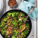 Lins- och broccoliwok med fläskytterfilé