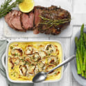 Lammstek med potatis- och chèvregratäng