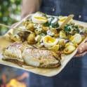 Vedhalstrad torsk med potatis, ägg och brynt smör