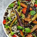 Sallad med rostade morötter och belugalinser