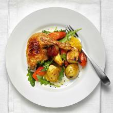 Kycklingklubba med rostade rotgrönsaker
