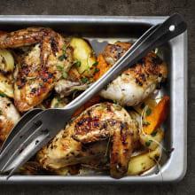<strong>Kyckling</strong> i ugn med citron och rostade rotfrukter