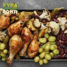 <strong>Kyckling</strong> med blomkål och brända druvor