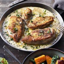 <strong>Kyckling</strong> i krämig parmesan- och timjansås