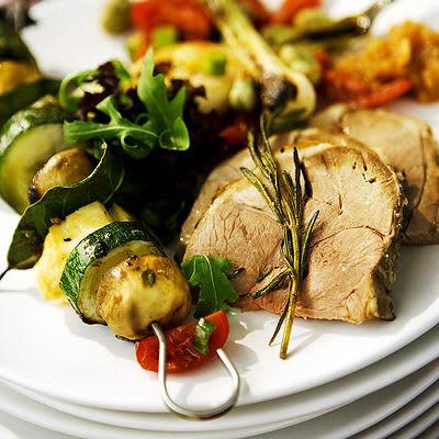 Bild på Halloumispett med svamp och zucchini