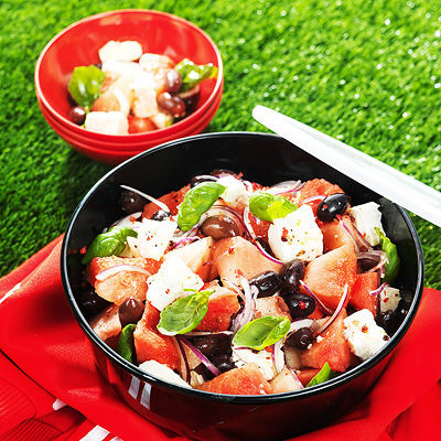 Bild på Svalkande melonsallad med fetaost och oliver